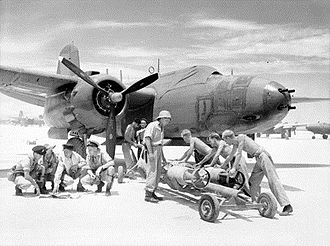 No. 77 Wing RAAF - Boston of No. 22 Squadron being prepared for a sortie at Noemfoor in October 1944