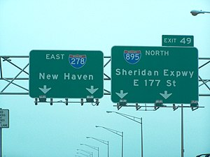 New York State Route 895 - Overhead guide signs for the Sheridan on the Bruckner Expressway