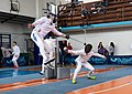 2nd Leonidas Pirgos Fencing Tournament. Flying touch by Vasileios Stantsios, counter-attack by his opponent.jpg