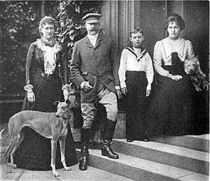 Latimer House - 1901 Left to right:Lady Beatrice Cavendish, Major General Charles Compton William Cavendish, John Compton Cavendish (aged 7) Lilah Cavendish.