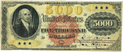 Series 1878 $5,000 United States Note, Obverse