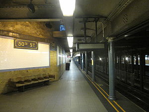 50th Street (IRT Broadway–Seventh Avenue Line) - Downtown platform