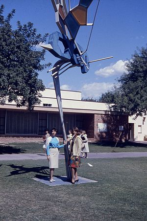 Fullerton College - Fullerton JC Campus, modern art sculpture of the Hornet logo, April, 1963