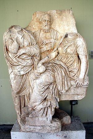 Piraeus - Funerary relief for a girl, flanked by her parents (330/320 BC); Archaeological Museum of Piraeus.