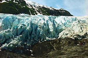 Exit Glacier - A guided tour group pauses along the Harding Icefield trail in 2002