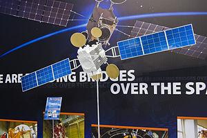 """Amos (satellite) - Model of Israeli Amos-5 satellite during """"Semana de Espacio"""", in IFEMA, Madrid."""