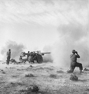 Ordnance QF 17-pounder - 'Pheasant' 17-pdr anti-tank gun in action at the Battle of Medenine, Tunisia, 11 March 1943