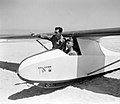 "A MEMBER OF THE ""FLYING CAMEL"" GLIDING CLUB BEING BRIEFED BY INSTRUCTOR BENJAMIN CAHANE BEFORE TAKE OFF ON THE BEACH OF BAT YAM. אימונים של חברי מועדוD393-009.jpg"