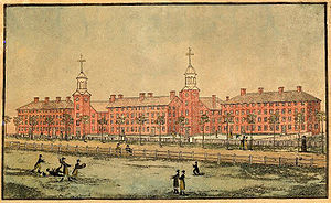Old Campus (Yale University) -  Old Brick Row in 1807, viewed from the New Haven Green. Left to right: South College, First Chapel, South Middle College, Connecticut Lyceum, and North Middle College.