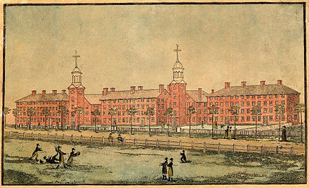 Old Brick Row in 1807 A View of the Buildings of Yale College at New Haven 1807.jpg