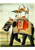 A decorated elephant with a howdah on its back