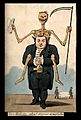 A doctor, straddled by a skeleton, holds a full purse in his Wellcome V0011675.jpg
