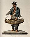 A man is holding a large basket with bread in it. Watercolou Wellcome V0039647.jpg