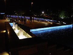 A night view of the fountain at the Pakistan Monument Islamabad.jpg
