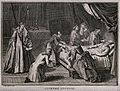 A priest administering extreme unction to a dying man in a b Wellcome V0042305.jpg