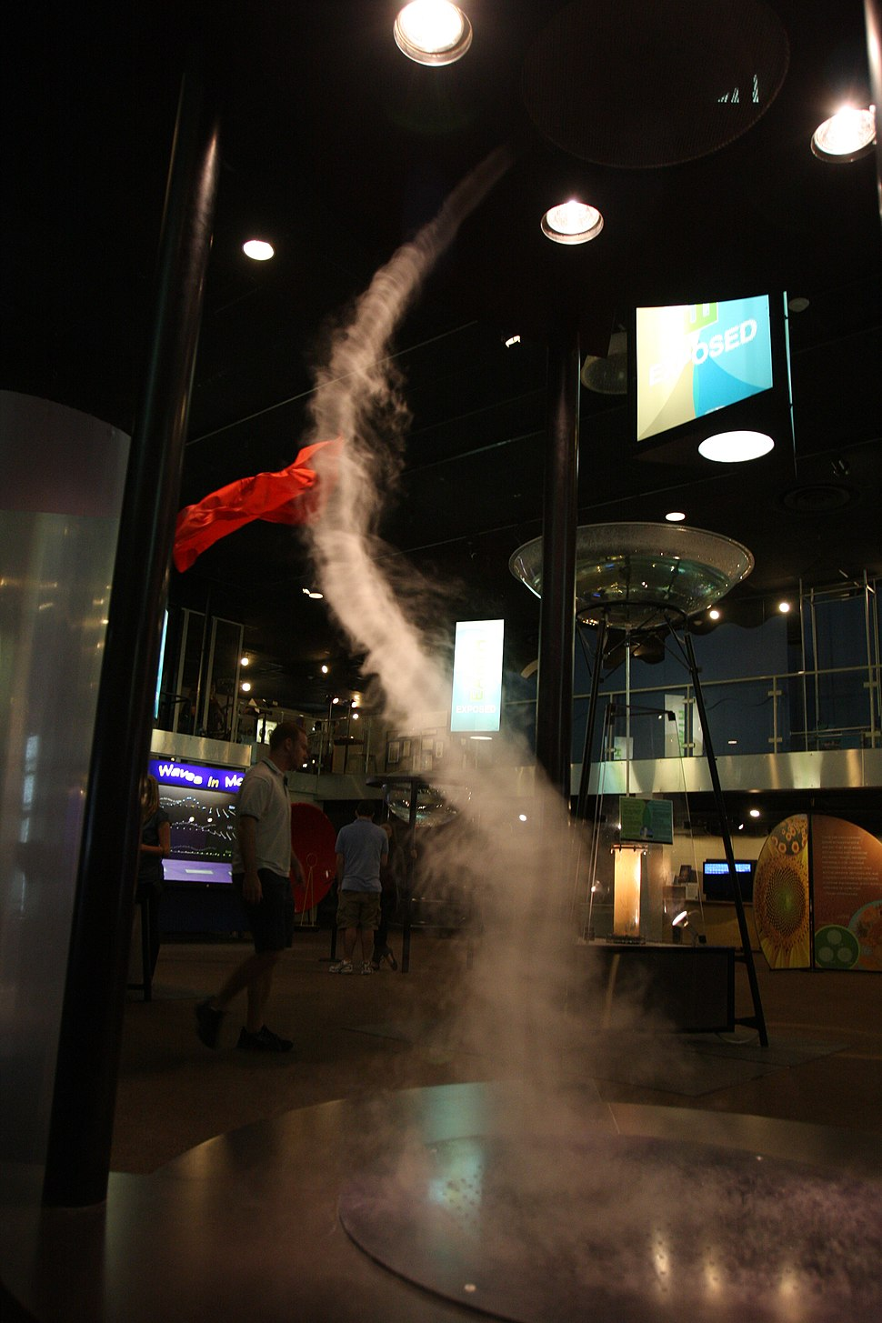 A tornado forms from hot and cold vapor at the Reuben H. Fleet Science Center
