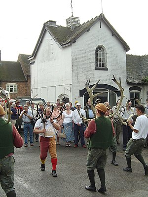 Abbots Bromley - The Horn Dance outside the Bagot Arms on 11 September 2006
