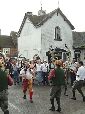 Abbots Bromley Horn Dance - The Horn Dance outside the Bagot Arms on 11 September 2006