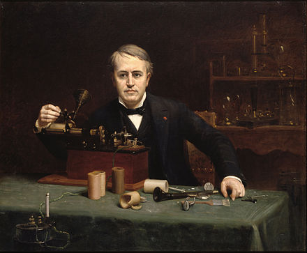 Portrait of Edison by Abraham Archibald Anderson (1890), National Portrait Gallery Abraham Archibald Anderson - Thomas Alva Edison - Google Art Project.jpg