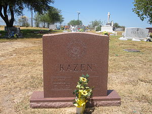 Abraham Kazen - Kazen grave with congressional emblem on tombstone at Calvary Catholic Cemetery in Laredo, Texas