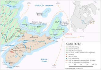 Naval battle off Tatamagouche - Acadia in the year 1743, with Tatamagouche at the north coast of the Acadian peninsula