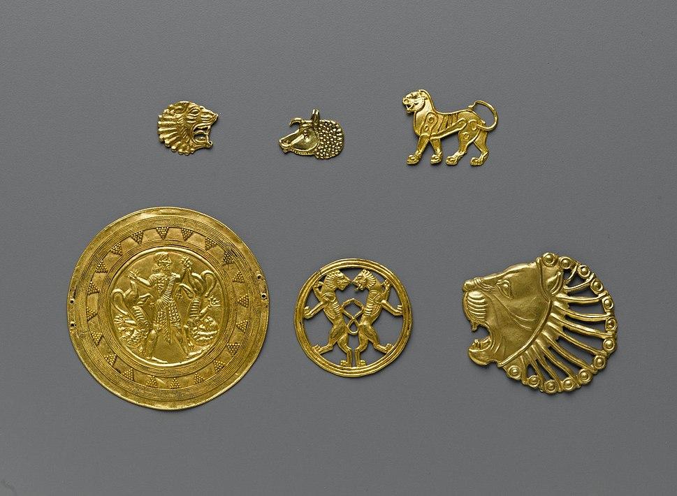 Achaemenid gold ornaments,70.142.6-.11