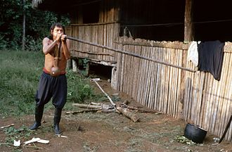 Achuar - An Achuar man with a blowgun