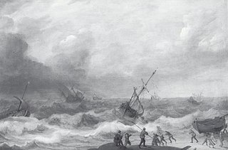 Stormy Sea with many Ships
