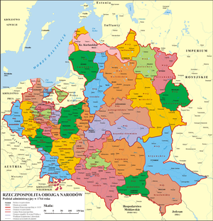 Administrative division of the Polish–Lithuanian Commonwealth - Image: Administrative division of the Polish Lithuanian Commonwealth in 1764
