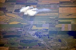 Aerial view of the Town of Milk River and Highway 4
