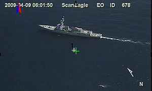 USS Bainbridge (DDG-96) - As seen from a ScanEagle UAV, the Bainbridge and the Maersk Alabama lifeboat, 9 April 2009.