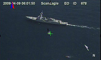 Maersk Alabama hijacking - USS Bainbridge shadows the lifeboat, near the lower right corner of the picture.