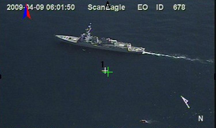 Aerial surveillance photo of the USS Bainbridge while apprehending Somali pirates 090409-N-0000X-136