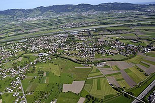Aerial view of the municipality of Mäder from the east