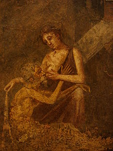 "Pero offering her breast milk to her aged father in an act of ""Roman Charity"" Affresco romano - Pompei - Micon e Pero.jpg"