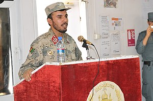 Abdul Raziq Achakzai - Image: Afghan Brig. Gen. Abdul Raziq addresses police NC Os during graduation at Kandahar Regional Training Center