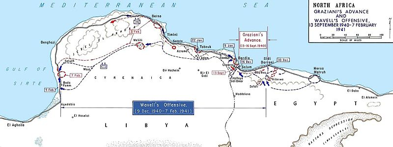 The progress of Operation Compass and strategic locations. Benghazi is to the north-west, Tobruk is on the coast near the map's centre, and El Alamein is to the east. AfricaMap1.jpg