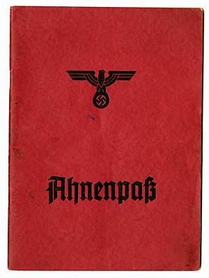 Ahnenpass - Front page of an Ahnenpass