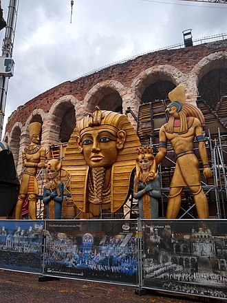 Aida - Props from the Aida set outside the Roman amphitheatre in Verona (2018)