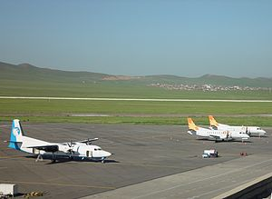 Transport in Mongolia - Aircraft of two Mongolian domestic airlines in ULN