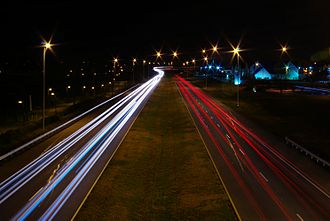 Sensory memory - U.S. Route 129 in Tennessee on Black Friday (shopping), automobile light trails
