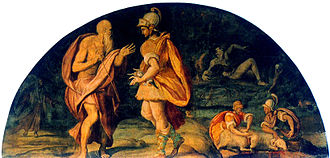 Katabasis - Odysseus consults the soul of the prophet Tiresias in his katabasis during the 11th book of the Odyssey.