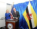 Ambassador Shields Welcomes Secretary Clinton to the U.S. Embassy (7949316120).jpg