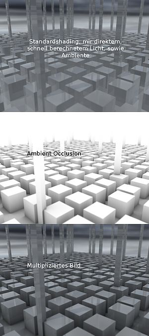 Ambient occlusion - The ambient occlusion map (middle image) for this scene darkens only the innermost angles of corners.