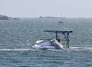Turtling (sailing) - Multihull Aleph capsizing during America's Cup trials, Plymouth