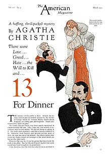 "Drawing of a gentleman in a dinner suit twirling his large moustache, illustrating the Christie story ""13 for Dinner"""