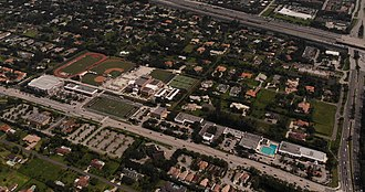 Plantation, Florida - An aerial shot of American Heritage School
