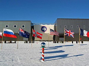 South Pole - The Ceremonial South Pole as of February 2008.
