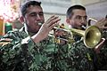 An Afghan National Army soldier assigned to the 203rd Corps band plays an old trumpet Dec. 14, 2013, before it is replaced by a new instrument donated by the U.S. Army's 101st Airborne Division Band at Forward 131214-A-YW808-027.jpg
