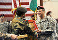 An Indian Army officer presents a gift to Brig. Gen. Raymond P. Palumbo during the closing ceremony of Yudh Abhyas 2010.jpg